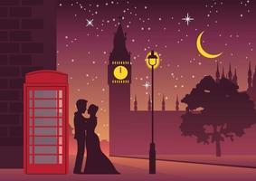 couple hug near telephone box at Big Ben, landmark of London vector