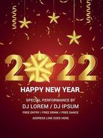 Happy new year 2022 with golden text effect on red background vector