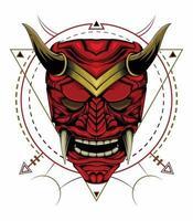 Kabuki illustration. red devil face illustration. head of red demon. Japanese samurai mask vector