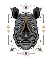 Ilustración de vector de rinoceronte. plantilla de diseño animal
