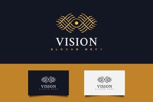 Golden Eye Vision Logo. One Eye Logo in Linear Concept vector