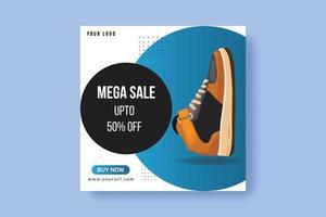 Plantilla de publicación de banner de redes sociales de producto de marca de calzado deportivo vector