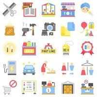 Supermarket and Shopping mall related icon set 6 , flat style vector