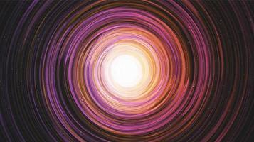 Agujero negro espiral colorido moderno en el fondo de la galaxia vector