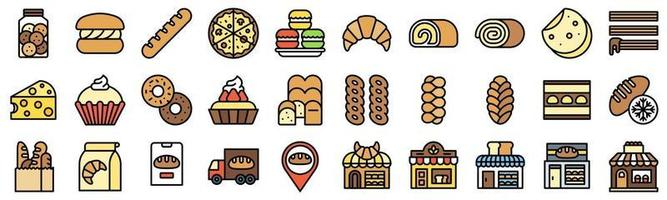 Bakery and baking related filled icon set 5 vector