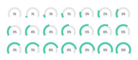 conjunto de diagramas de porcentaje de arco vector