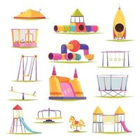 Children Playground Elements Set Vector Illustration