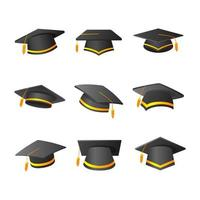 Graduation Hat Icon Collection in Gradient vector
