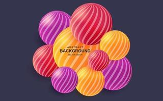 Colorful abstract background with realistic 3d balls bright composition with striped color spheres vector