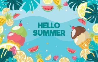 comida de verano en fondo de diseño plano vector