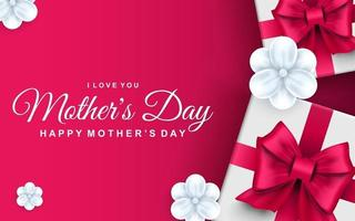 Happy mothers day greeting card gift boxes with pink ribbon bows and white flowers vector