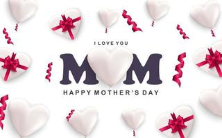 Happy mothers day greeting card white hearts with red ribbon bows and falling confetti vector