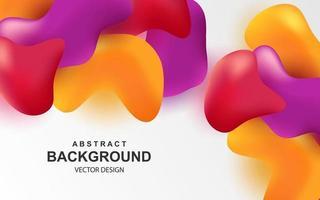 Fondo abstracto colorido con objetos 3d multicolores elementos realistas de color rojo brillante naranja y morado vector