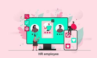 HR employee web concept design in flat style vector illustration