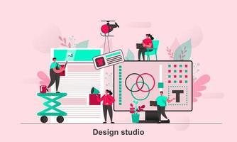 Design studio web concept design in flat style vector illustration
