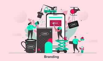 Diseño de concepto web de marca en la ilustración de vector de estilo plano