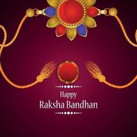 feliz tarjeta de felicitación de celebración raksha bandhan con ilustración creativa de rakhi vector