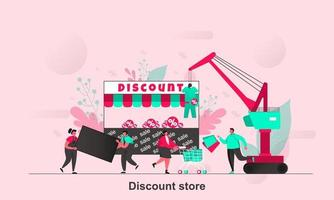 Discount store web concept design in flat style vector illustration
