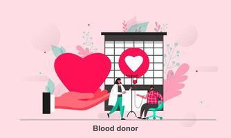 Diseño de concepto web de donante de sangre en la ilustración de vector de estilo plano