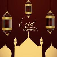 Eid mubarak islamic festival flat design concept with creative lantern vector