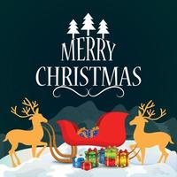 Merry christmas invitation greeting card with vector illustration of gifts on creative background