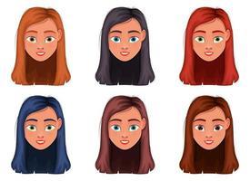 Ilustración de diseño de vector de cara de mujer aislada sobre fondo blanco