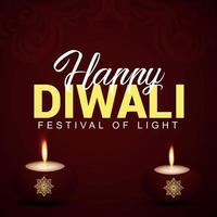 Happy diwali indian festival the festival of light with creative diwali diya vector