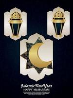 Happy muharram celebration party flyer with vector pattern golden moon and lantern