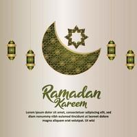 Islamic festival ramadan kareem background with creative arabic pattern moon and lantern vector