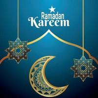 Tarjeta de felicitación de celebración del festival islámico de Ramadán Kareem con patrón de flores y luna árabe vector