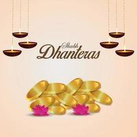 Tarjeta de felicitación de celebración shubh dhanteras con moneda de oro sobre fondo blanco. vector