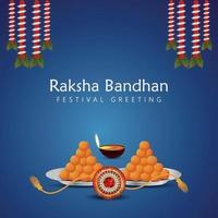 Raksha bandhan celebration greeting card with sweets and crystal rakhi vector