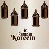 Ramadan kareem islamic festival with pattern background and flat lantern vector