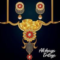 Akshaya tritiya indian festival with jewellery sale offer with golden necklace with earings vector