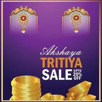 Fondo de venta de akshaya tritiya con moneda de oro y aretes de oro. vector