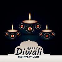 feliz diwali festival indio de la india celebración tarjeta de felicitación vector