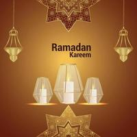 Islamic festival invitation greeting card with crystal lantern on pattern background vector