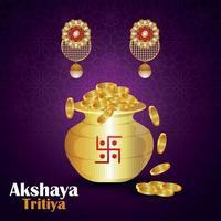 Promoción de venta de joyas indias akshaya tritiya con olla de monedas de oro y aretes de oro vector
