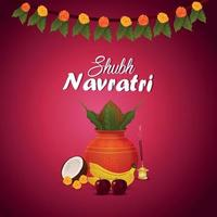 Shubh navratri celebration greeting card with creative kalash vector