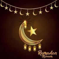 Ramadan kareem invitation greeting card with golden arabic pattern background vector