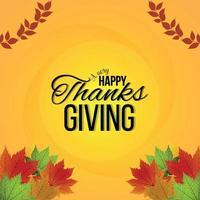 Fondo creativo con ilustración vectorial de feliz celebración de acción de gracias tarjeta de felicitación vector