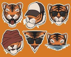Fashion Tiger head stickers vector illustration