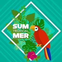 Summer tropical banner with macaw and leaves vector