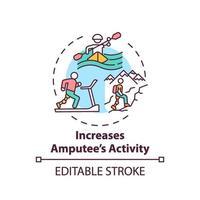 Increasing amputee activity concept icon vector