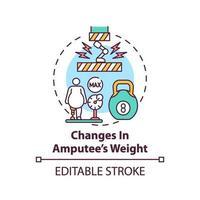 cambios en el icono del concepto de peso amputado vector