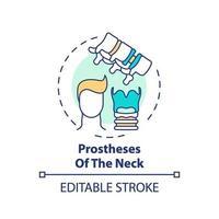 icono de concepto de prótesis de cuello vector