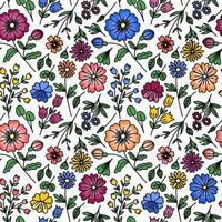 WHITE SEAMLESS PATTERN WITH WILD FLOWERS vector