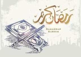 tarjeta de felicitación de ramadan kareem con corán abstracto vector