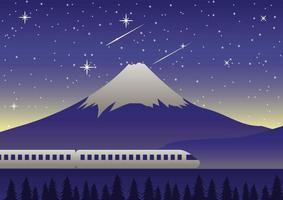 train runs past Mount Fuji at night vector