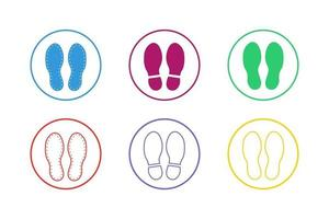 Colorful Shoes Footprint Icon Set vector